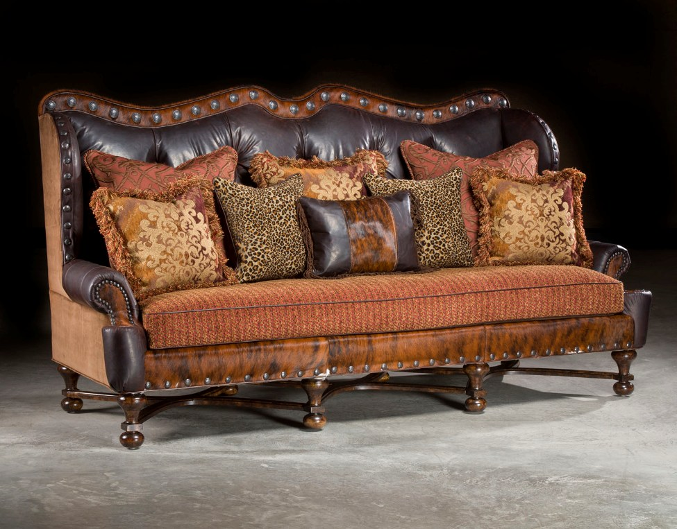 Incroyable Rustic Leather And Fabric Sofa