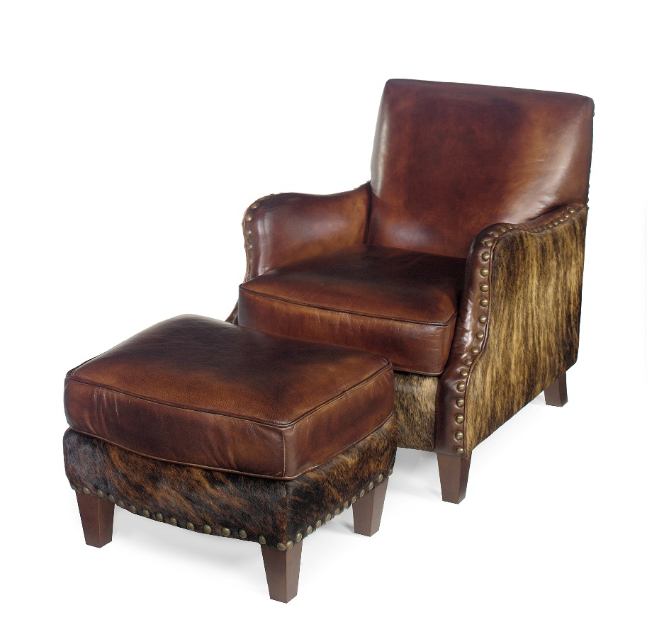 Cowhide and Leather Chair ... - Cowhide Chair Western Chair Cowhide Ottoman Anteks Home
