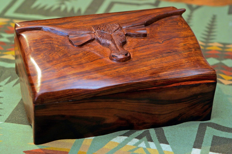 Hand Carved Longhorn Box