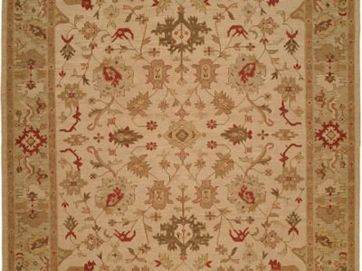 beige rug with olive green and dark red accents