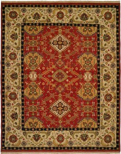 beige and red rug with geometric designs