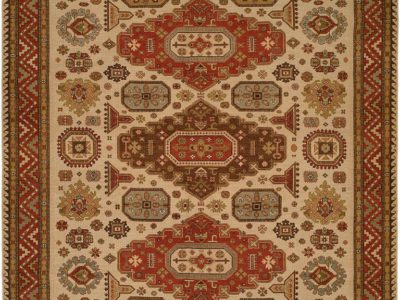 brown rug with dark red and brown designs