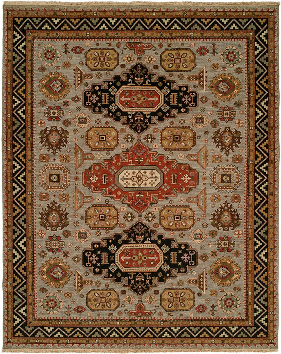 brown rug with geometric designs