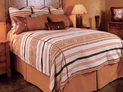 alamosa bedding with beige white and dark brown stripes