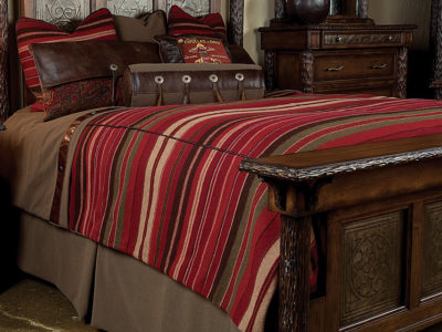 bendera bedding with red, beige and olive stripes