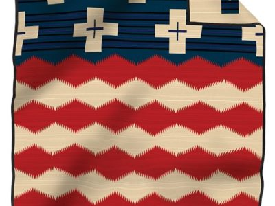 brave star pendleton blanket in red beige and blue
