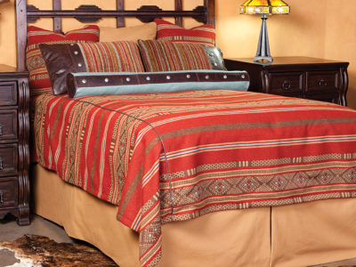 brazos bedding set in red and beige with navajo designs