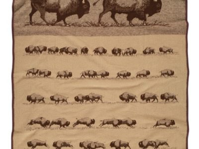 buffalo roam pendleton blanket in shades of brown with buffalo