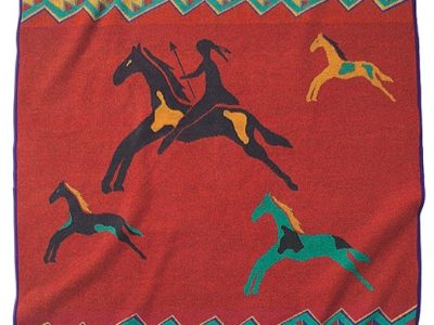 celebrate the horse pendleton blanket with red yellow purple and turquoise designs and horses