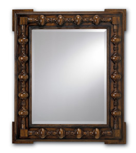 jacobean style carved mirror, brown wood