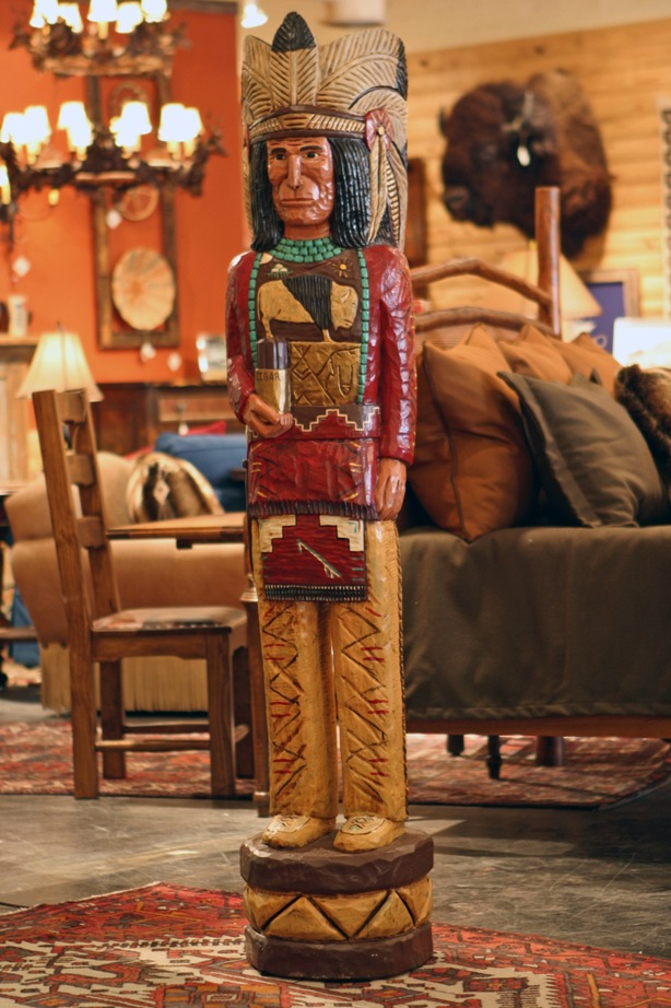 Cigar store indian rustic indian statue carved indian for Indian home decor stores