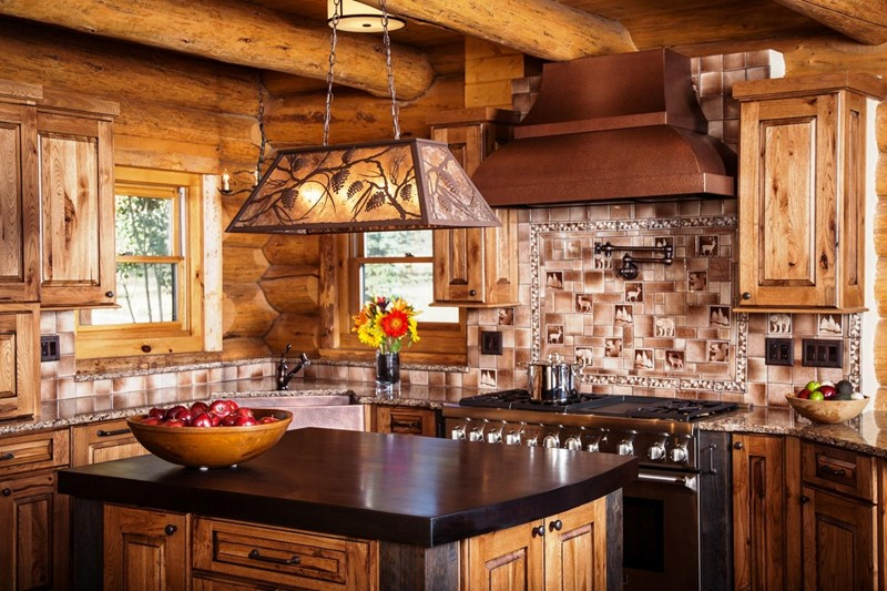Rustic Kitchen For A Log Home