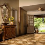 large area rug, rustic mirror