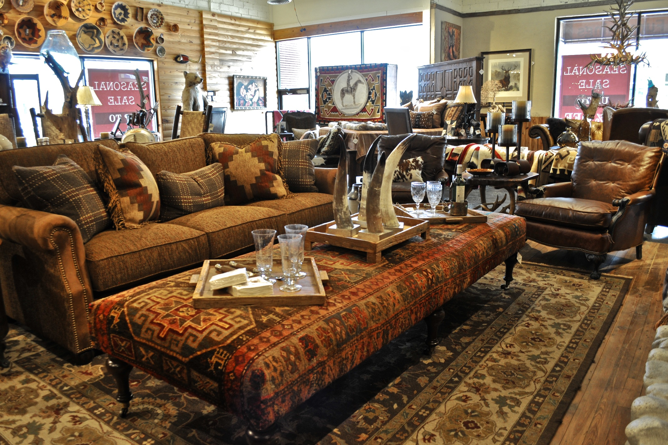 Rustic living room furniture at anteks furniture store in Living room furniture dallas