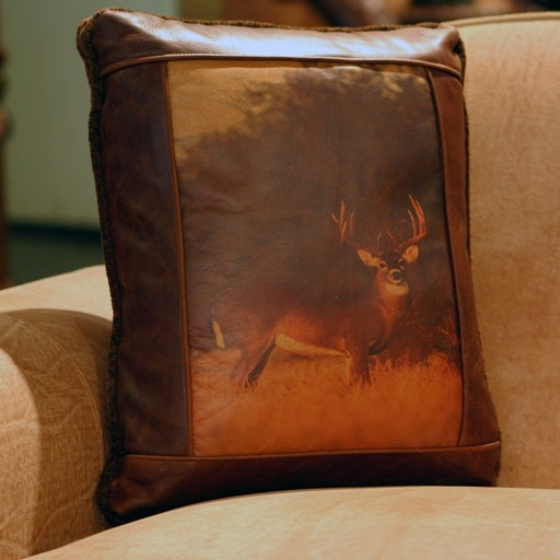 white tail deer leather pillow