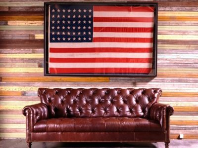 Rustic Leather Tufted Sofa vintage american flag