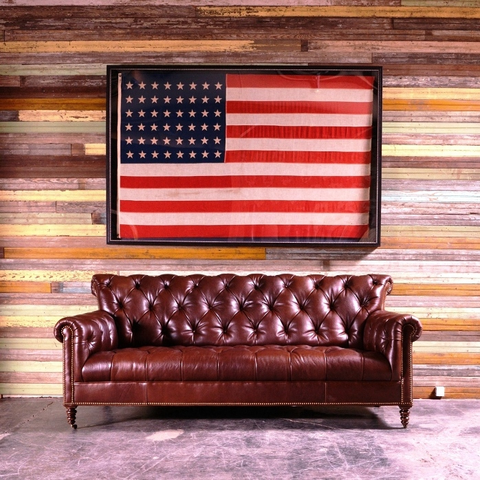 Rustic Leather Tufted Sofa at Anteks Western Furniture Store