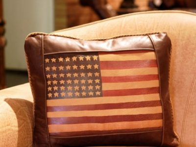 flag leather pillow
