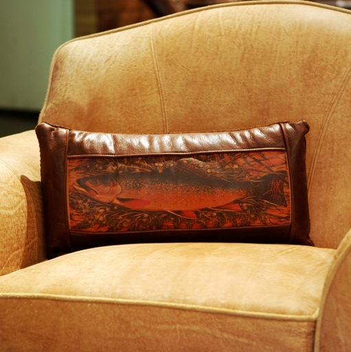 Leather Trout Pillow At Anteks Western Furniture In Dallas