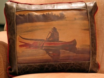 twilight canoeing leather pillow