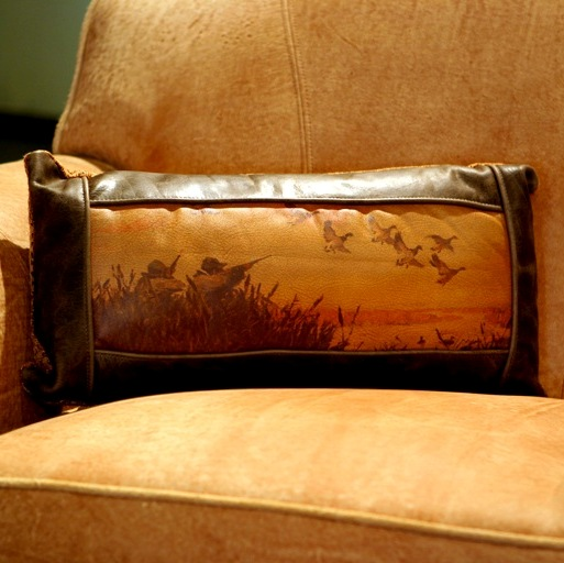 Lovely Long Duck Hunting Leather Pillow