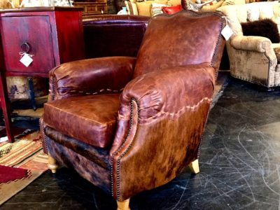 Rustic Leather Chair with Cowhide
