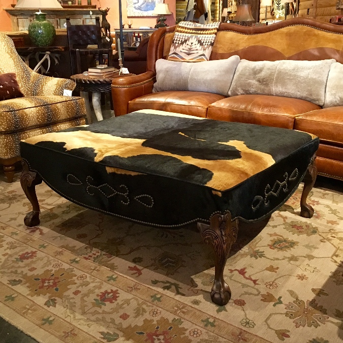 Cowhide Ottoman At Anteks Western Furniture Store In Dallas