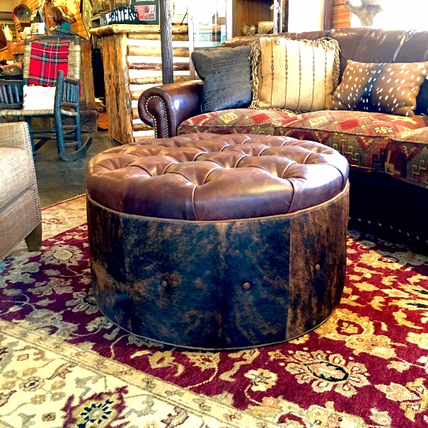 cowhide tufted ottoman