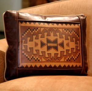 navajo rug leather accent pillow
