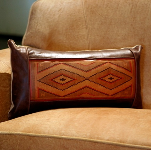 long navajo rug leather pillow