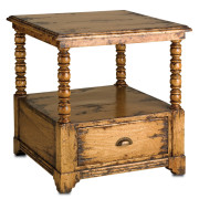 rustic carved side table #3120