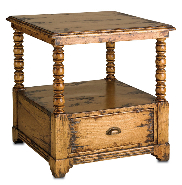 rustic side table at anteks furniture store in dallas