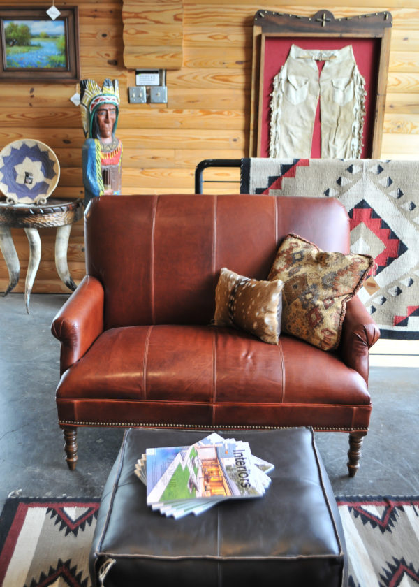 Rustic Leather Settee