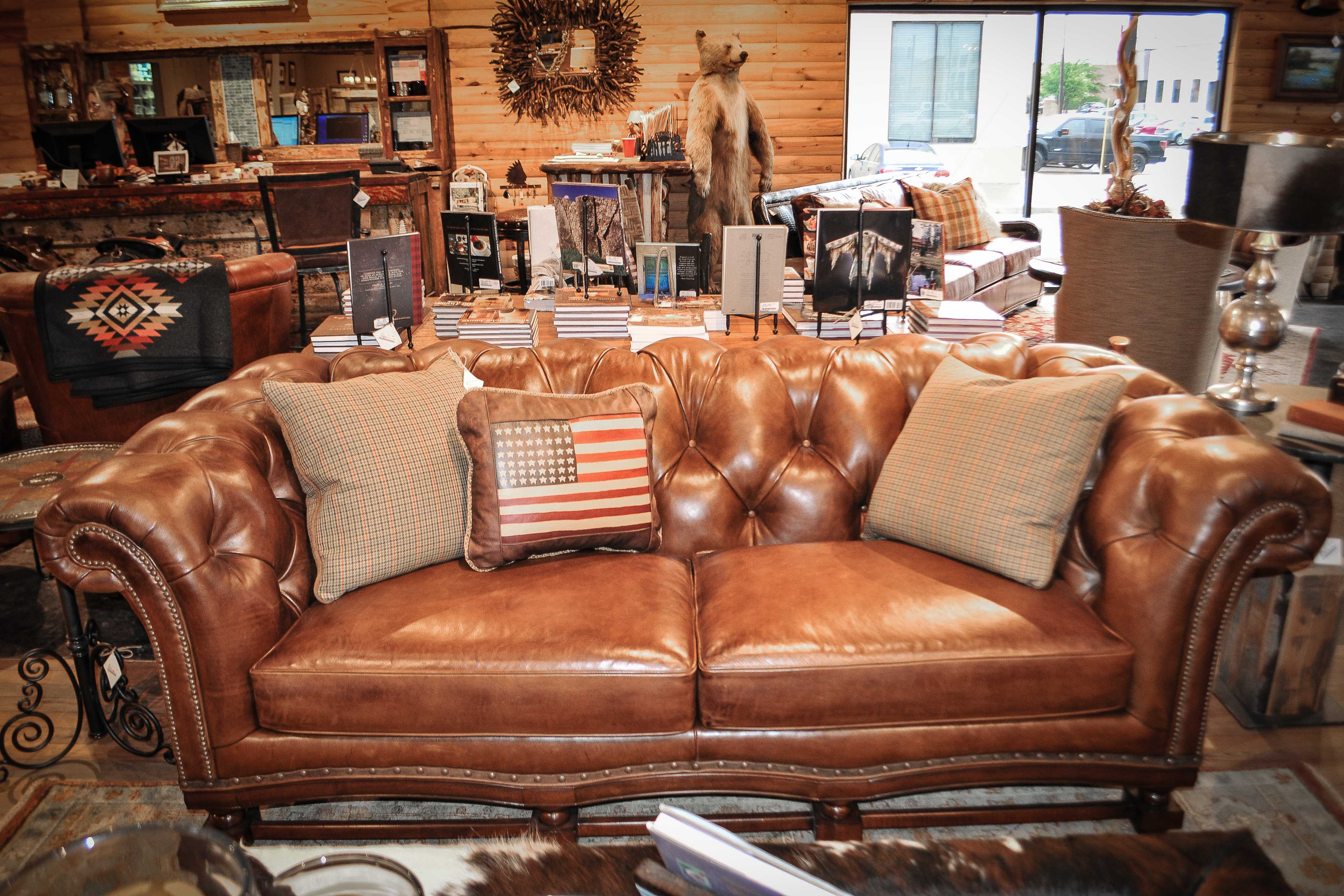 Rustic Brown Leather Teton Sofa at Anteks Furniture Store in Dallas
