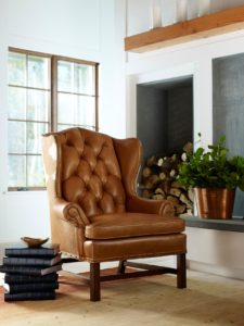 Hancock and Moore light brown leather chair in sunroom