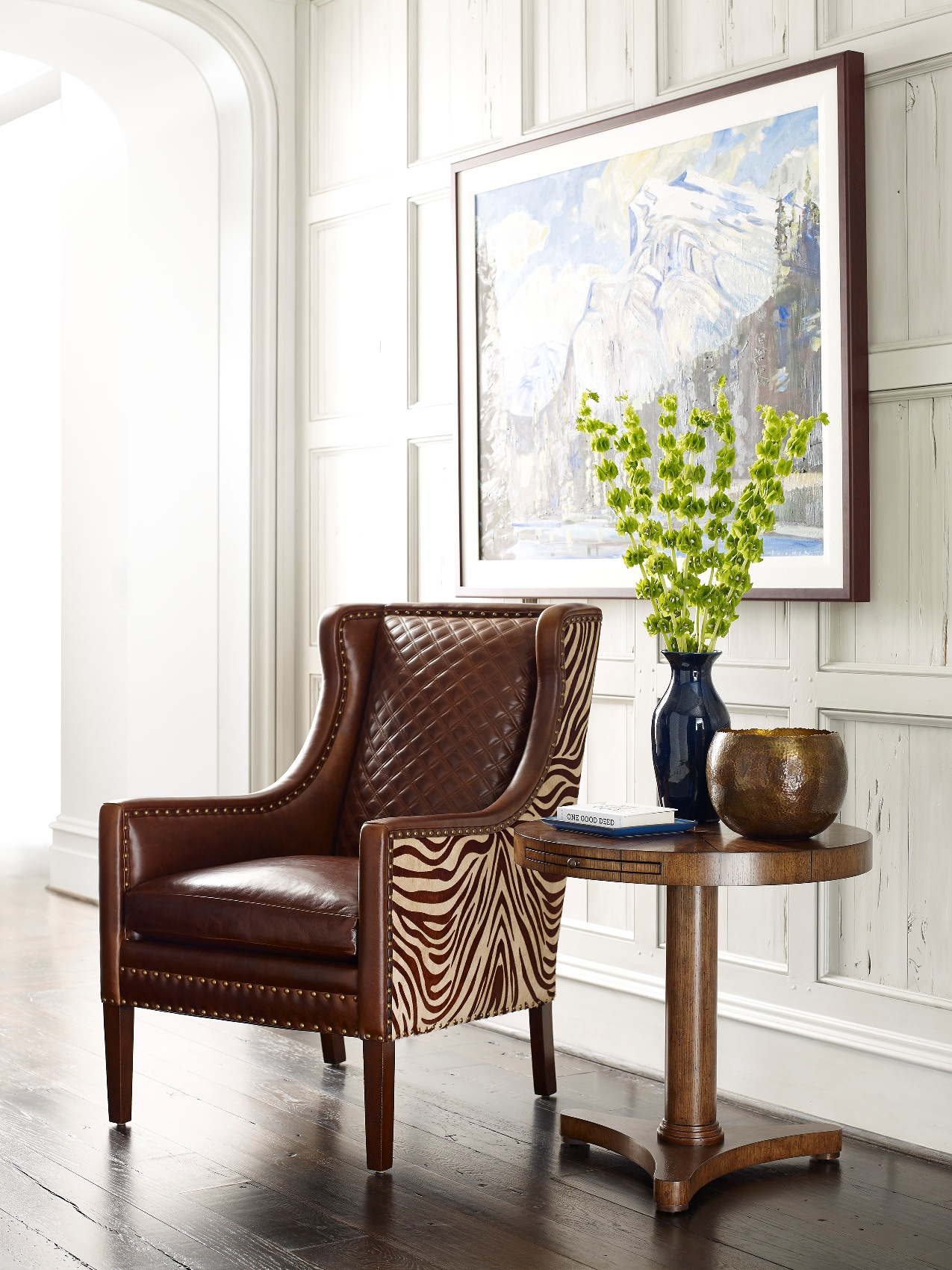 Hancock And Moore Leather Chair With Zebra Print
