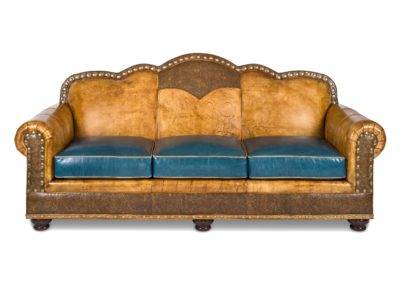 Hancock and Moore Leather Sofa light brown and blue