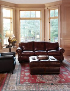 Hancock and Moore leather Sofa, leather ottoman
