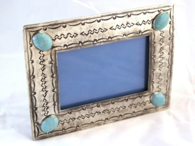 4x6 Silver stamped frame with 4 turquoise stones