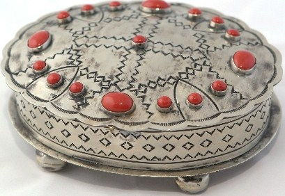NAVAJO STYLE STAMPED OVAL BOX with coral