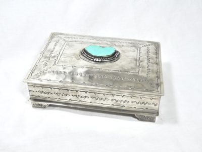silver stamped box with turquoise