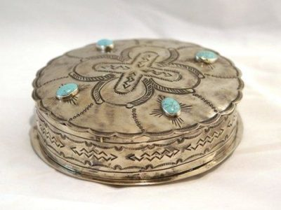 Navajo Style Round Stamped Box with Turquoise