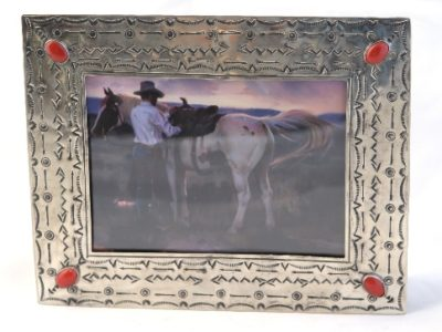 5x7 Stamped Silver Frame with Coral