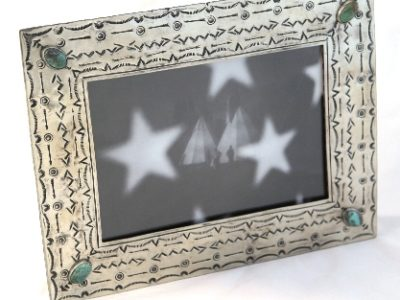 5x7 silver stamped frame with turquoise
