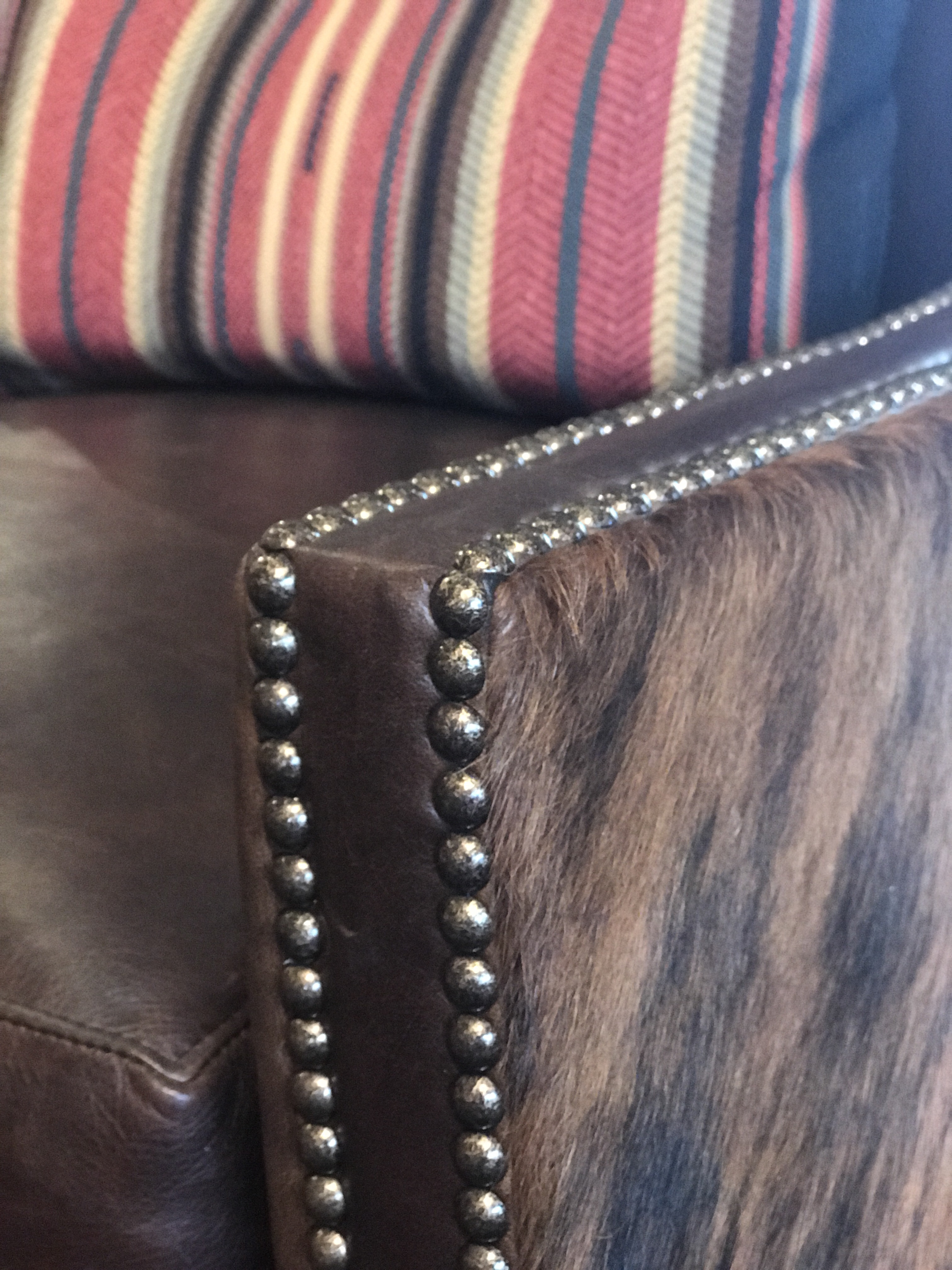 Leather And Cowhide Swivel Chair Detail