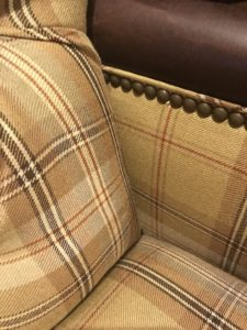plaid accent chair detail