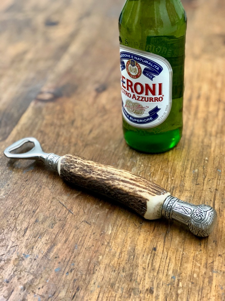 antler bottle opener with pewter crown