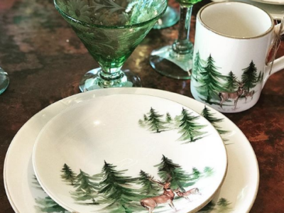 deer in the forest dinnerware