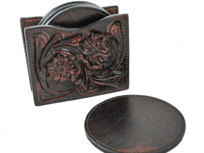 brown leather coaster set
