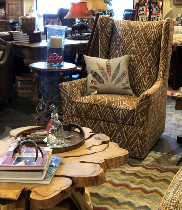 accent chair with wood coffee table